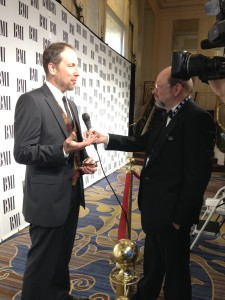 Interviewing Rolfe Kent at a BMI awards ceremony.