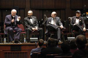 L-R: John Williams, Stanley Donen, JB, Leonard Slatkin