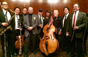 JB, exec producer Bob Short (in cap), composer Gerald Fried (third from right) and our band, The Summit-Six Sextet (photo by Frank Abe)